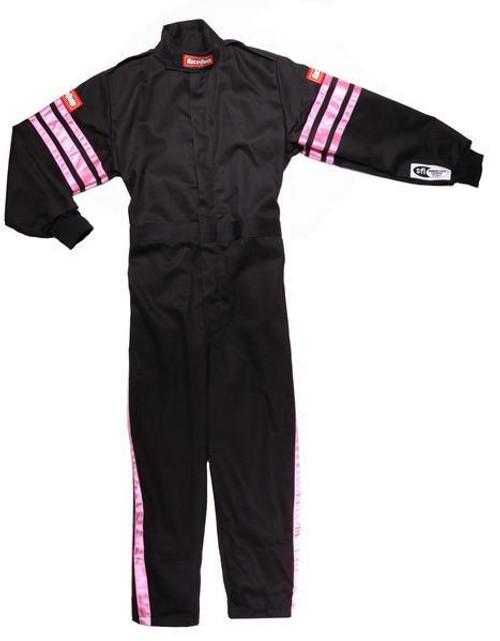 Racequip 1950893 Black Suit Single Layer Kids Medium Pink Trim