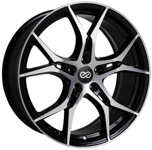 Enkei 517-980-4445BKM Vulcan Black Machined Performance Wheel 19x8 5x112 45mm Offset 72.6mm Bore