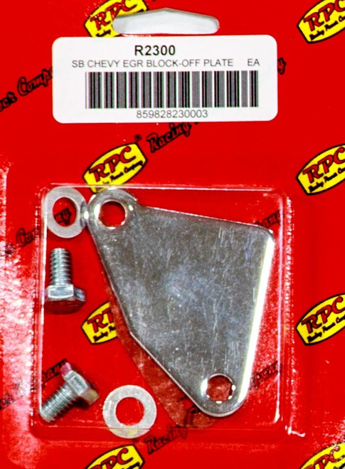 Racing Power Co-Packaged R2300 Chrome SB Chevy Manifold E.G.R. Block-off Plate