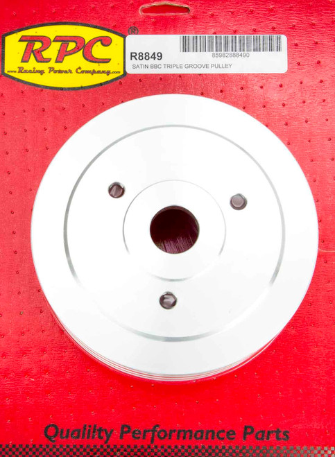 Racing Power Co-Packaged R8849 BBC SWP Triple Groove Lower Pulley Satin