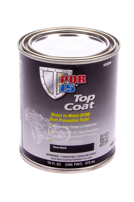 Por-15 45808 Top Coat Paint Gloss Black Pint