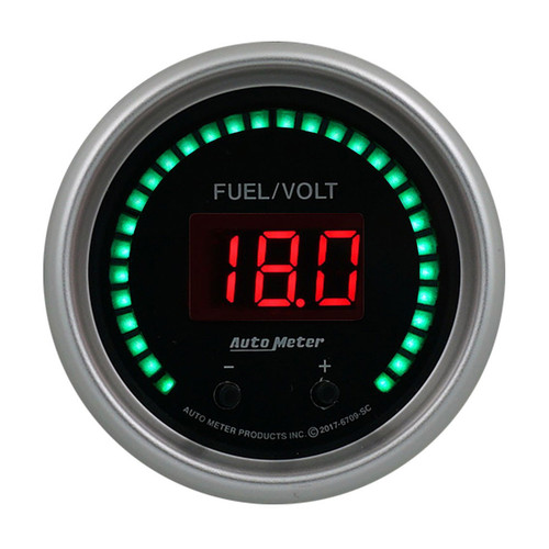 Autometer 6709-SC 2-1/16 Fuel/Volt Gauge Elite Digital SC Series