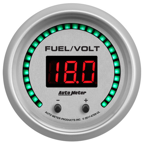 Autometer 6709-UL 2-1/16 Fuel/Volt Gauge Elite Digital UL Series
