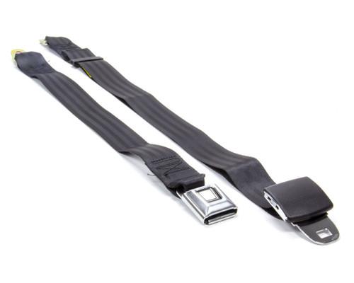 Beams Seatbelts 1256-7410 2 Pt Seat Belt Black w/ Nostalgia Push Button