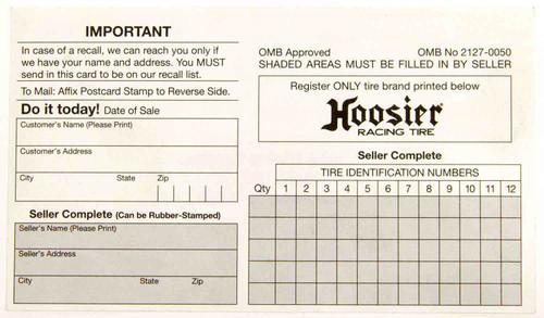 Hoosier CIM200 Hoosier Registration Card