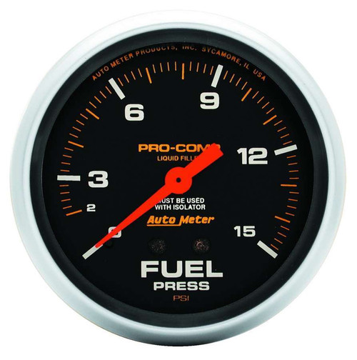 Autometer 5413 15 Psi Fuel Press. Gauge