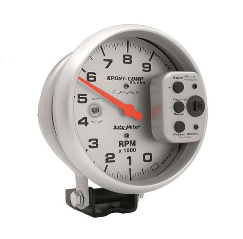 Autometer 3964 5in S/C Silver 9000 RPM Playback Tach