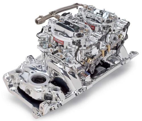 Edelbrock 20654 BBC Dual Quad Manifold & Carb Kit - Endurashine