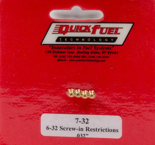 Quick Fuel Technology 7-32 6-32 Screw-in Restrictor .032in