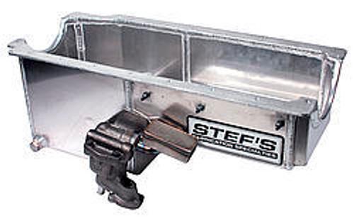 Stefs Performance Products 1020BC SBC Alum. Oil Pan Kit - w/H/V Oil Pump- LH Dip.