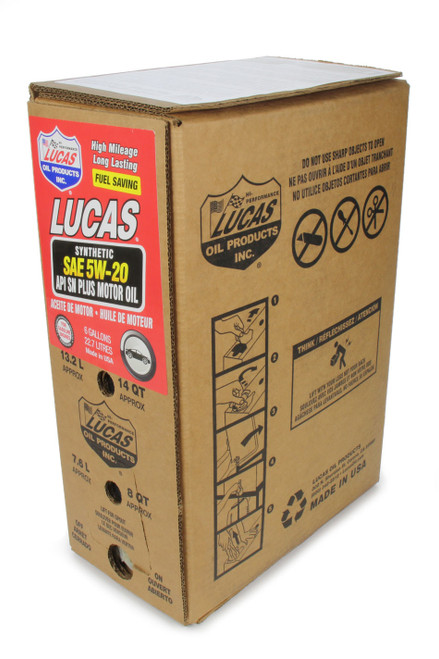 Lucas Oil 18004 Synthetic SAE 5W20 Oil 6 Gallon Bag In Box