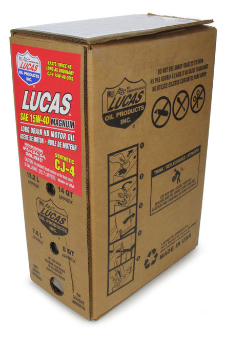 Lucas Oil 18018 Synthetic SAE 15W40 CJ-4 Oil 6 Gallon Bag In Box