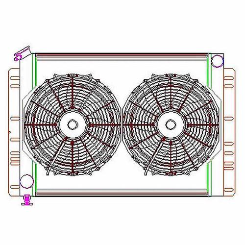 Griffin CU00038 Radiator Combo Unit 60 - 88 Mopar A / B & E Body
