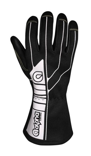 Alpha Gloves AGD1-01-M Glove Driver X Black Medium SFI 3.3/1