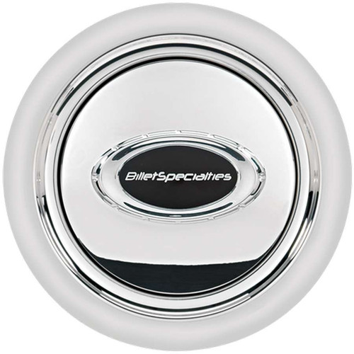 Billet Specialties 32725 Horn Button Smooth Polished w/Black Logo