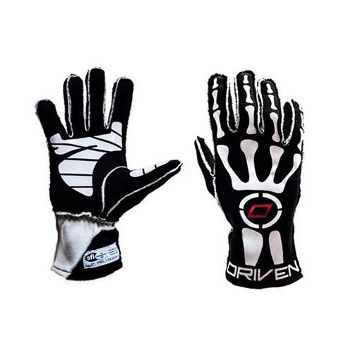 Driven Steering Wheels DRG0102LRG Black Skeleton Gloves Large