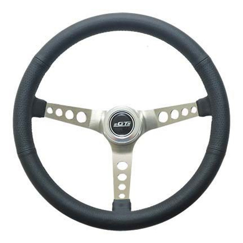 Gt Performance 35-5445 Steering Wheel Retro Leather Stainless Spokes