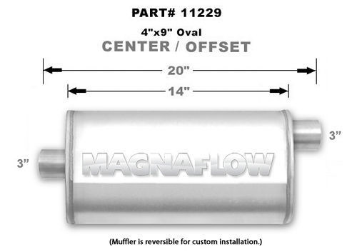 Magnaflow Perf Exhaust 11229 Stainless Muffler 3in Offset In/Center Out