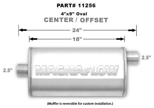 Magnaflow Perf Exhaust 11256 Stainless Muffler 2.5in Offset In/Center Out
