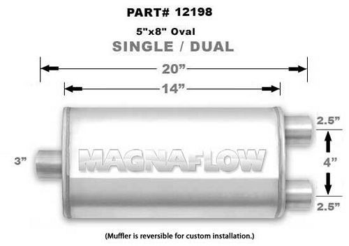 Magnaflow Perf Exhaust 12198 Stainless Muffler 3in Inlet/Dual 2.5in Out