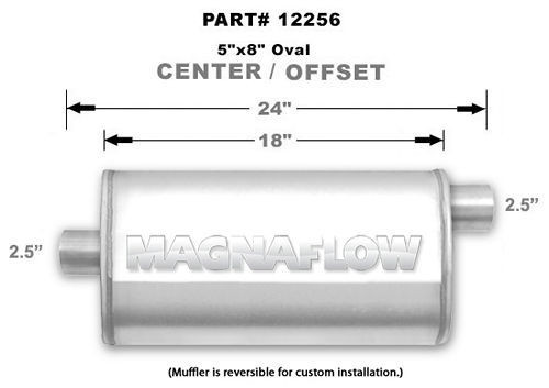 Magnaflow Perf Exhaust 12256 Stainless Muffler 2.5in Offset In/Center Out