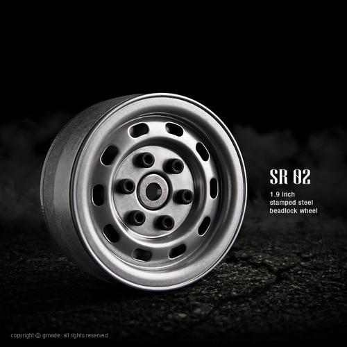 Gmade 70172 1.9 SR02 Beadlock Wheels (Semigloss Silver) (2)