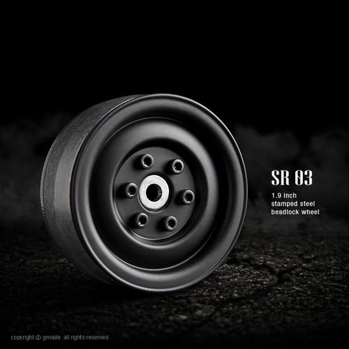 Gmade 70184 1.9 SR03 Beadlock Wheels (Matt Black) (2)