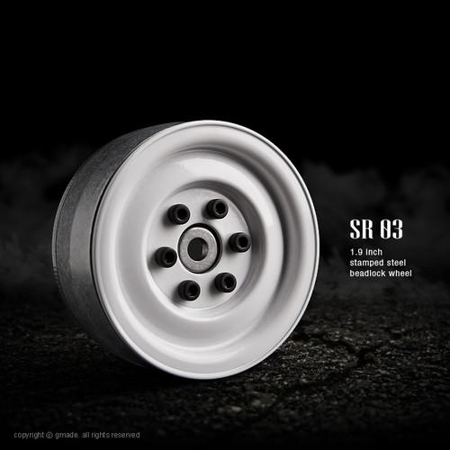 Gmade 70186 1.9 SR03 Beadlock Wheels (Gloss White) (2)