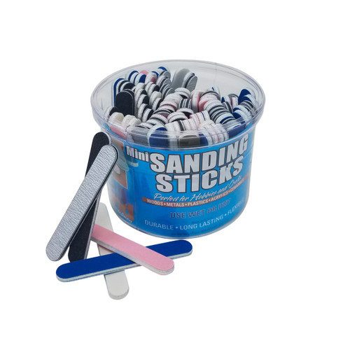 Durasand 32001-100 Mini Sanding Sticks, 100 Piece Bucket, Assorted Grits &