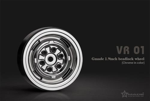 Gmade 70105 1.9 VR01 Beadlock Wheels (Chrome) (2)