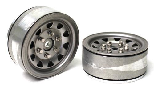 Gmade 70497 1.9 SR04 Beadlock Wheels (Uncoated Silver) (2)