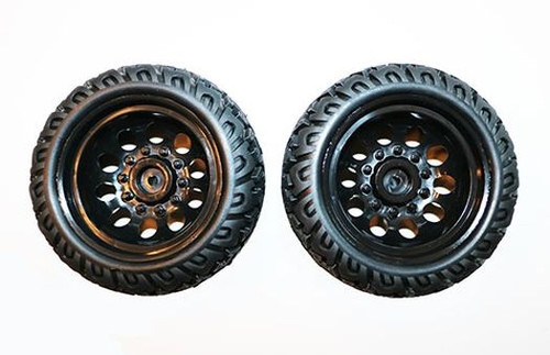 DHK Hobby 8141-001 Tires, Mounted on Black Wheels Raz-R 2 and Cage-R (2pcs)