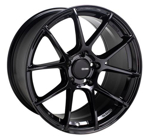 Enkei 522-880-8045BK TS-V Gloss Black Tuning Wheel 18x8 5x100 45mm Offset 72.6mm Bore