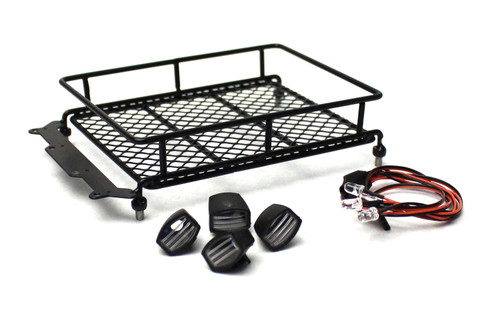 Racers Edge 3416BK 1/10 Scaler Metal Mesh Roof Rack, Oval Lights - Black