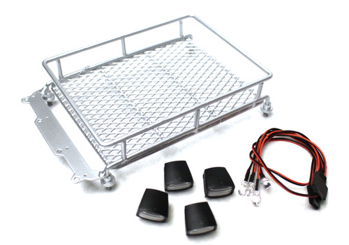 Racers Edge 3416S 1/10 Scaler Metal Mesh Roof Rack, Oval Lights - Silver