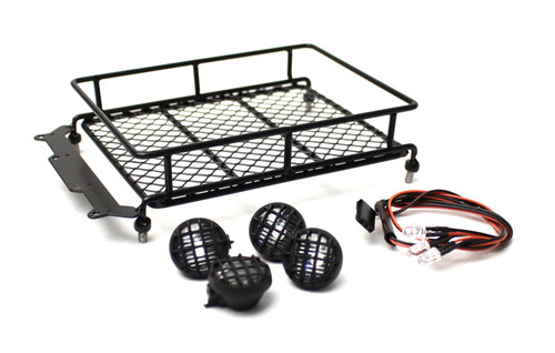 Racers Edge 3417BK 1/10 Scaler Metal Mesh Roof Rack, Round Lights - Black