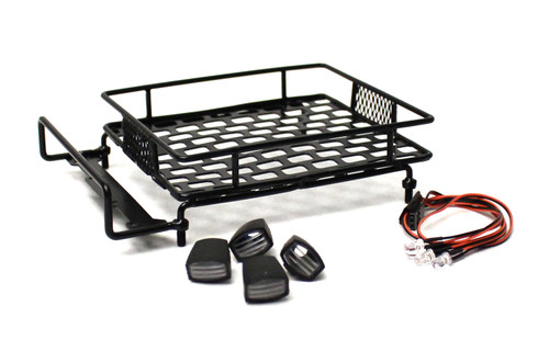 Racers Edge 3418BK 1/10 Scaler Metal Grid Roof Rack, Oval Lights - Black