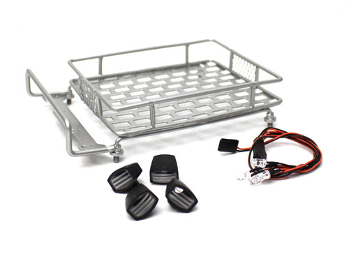 Racers Edge 3418S 1/10 Scaler Metal Grid Roof Rack, Oval Lights - Silver