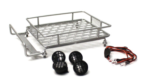 Racers Edge 3419S 1/10 Scaler Metal Grid Roof Rack, Round Lights - Silver