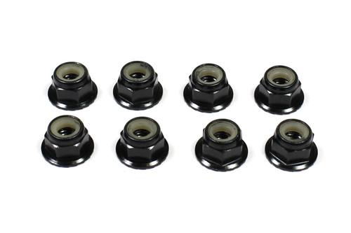 Tuning Haus 1078 4mm Aluminum Locknut-Flanged Knurled (8) Black