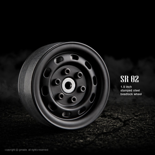 Gmade 70174 1.9 SR02 Beadlock Wheels (Matt Black) (2)