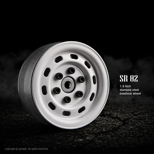 Gmade 70176 1.9 SR02 Beadlock Wheels (Gloss White) (2)