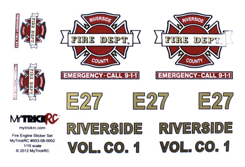 MyTrickRC ST2 Fire Truck Decal Set - Realistic 1:10 Scale Decal