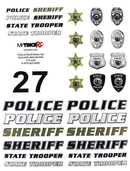 MyTrickRC ST3 Police / Sheriff Decal Set - Realistic 1:10 Scale Decal
