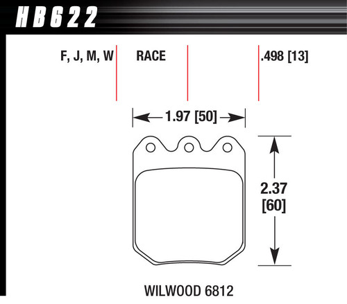 Hawk Brake HB622W490 Brake Pad Set Wilwood DLS DTC-30 6812