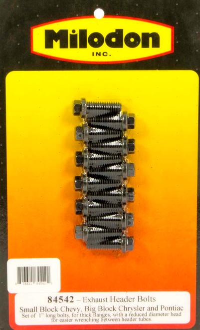 Milodon 84542 Header Bolt Kit - SBC 6pt. 3/8in x  1in