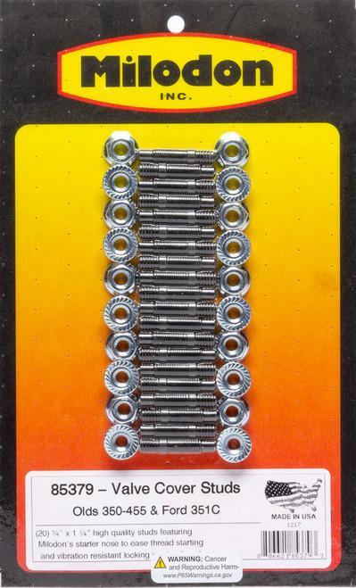 Milodon 85379 Valve Cover Stud Kit - Olds V8 & Ford 351C