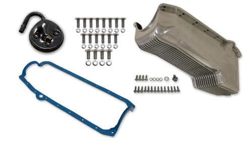 Weiand 6500FWND 4qt Alm Finned Oil Pan Kit SBC 58-79 Polished