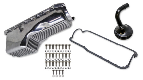 Weiand 6532FWND 4qt Alm Finned Oil Pan Kit BBC 65-90 Polished