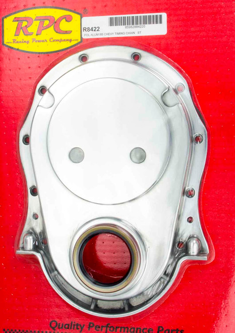 Racing Power Co-Packaged R8422 BBC Alum Timing Chain Cover Polished